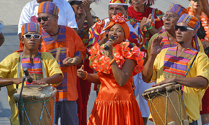 Female singer during carnival parade