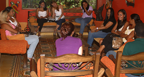 A small group of women meeting one black man during a romance tour