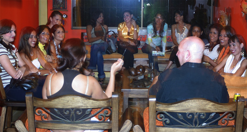 A small group of women meeting one man during a romance tour