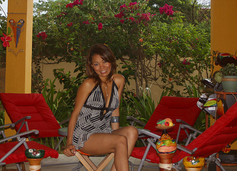 Barranquilla woman modeling the barbecue patio area.