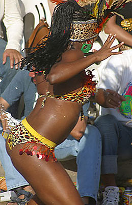 Colombian woman shaking to the rhythm of Carnival