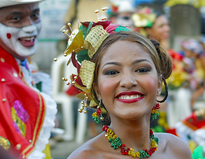 Carnival of Barranquilla woman proudly smiling