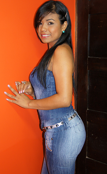 Colombian Woman with long beautiful black hair