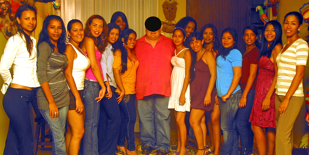 One man surrounded by many beautiful Colombian Women