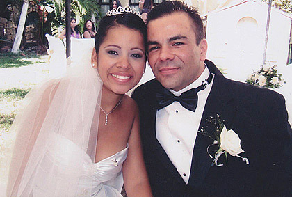 Wedding picture of a Latin woman and American man