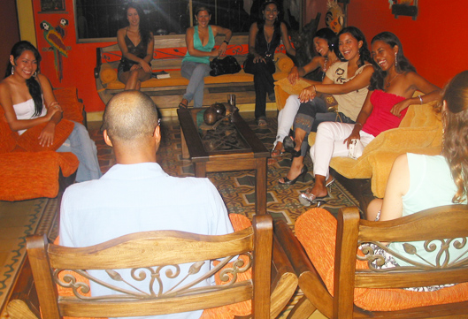 A small group of Colombian women meeting one black man during an International Introductions romance tour