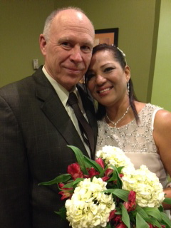 Mature Colombian woman and American man wedding ceremony