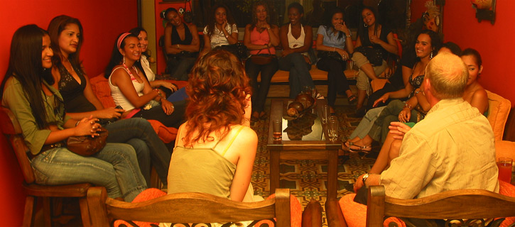 One man meeting eight Colombian women during a private romance tour