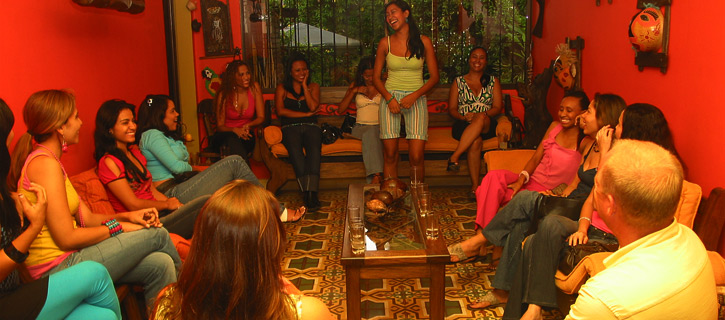 One man enjoying meeting seven Colombian women during a private romance tour