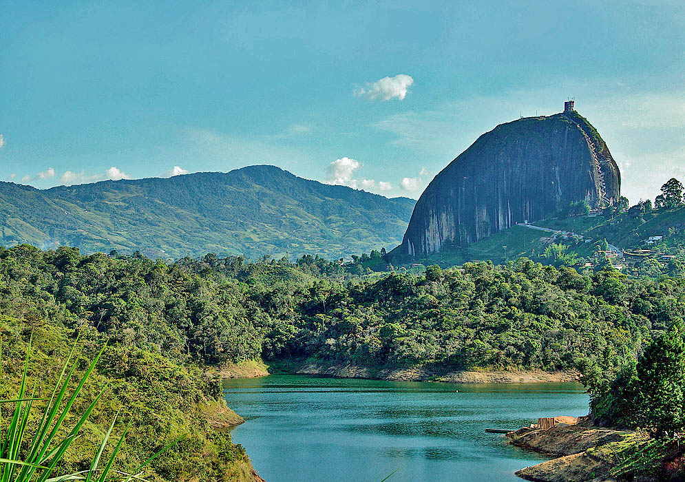 View to the Guatape lake with Peñon de Guatape in the background