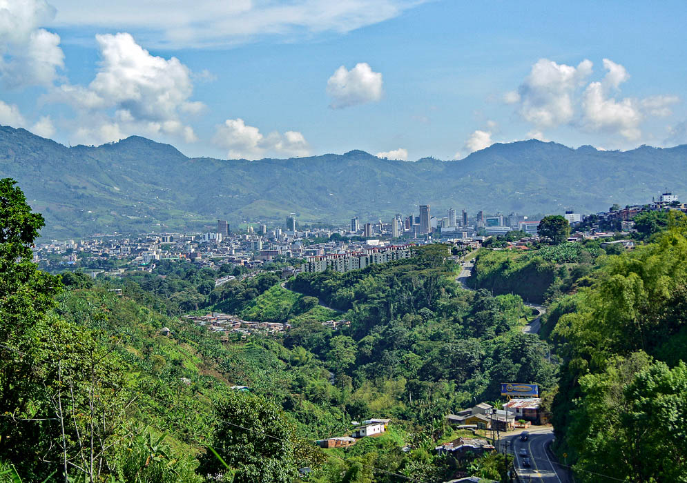 Pereira Colombia on a clear day with mountains in the background