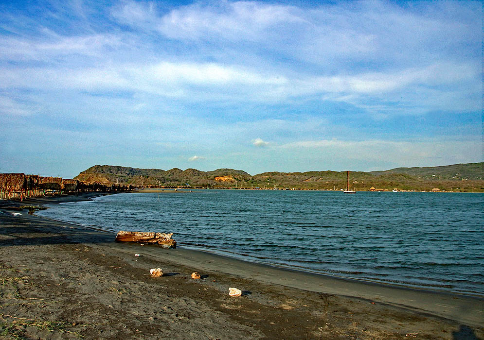 Puerto Velero beach, bay and hills in the background